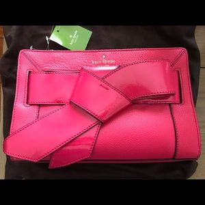 Kate spade bow valley pink leather small bag new